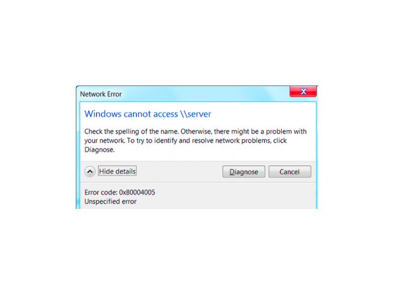 File Sharing Windows 10 network share error 0x80004005